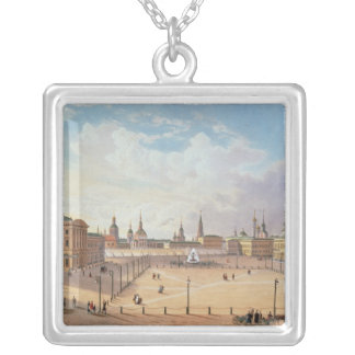The Theatre Square in Moscow Square Pendant Necklace