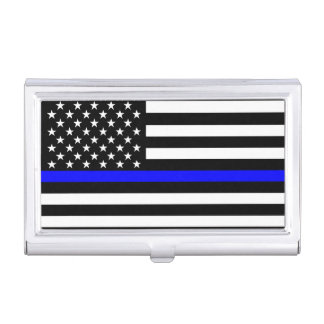 The Thin Blue Line American Flag Decor Business Card Holders