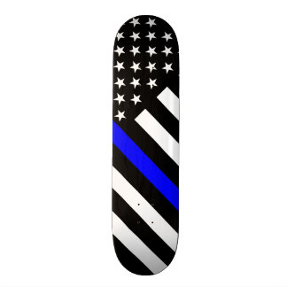The Thin Blue Line Black and White US flag 20 Cm Skateboard Deck