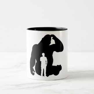 The Thinker -  Gorilla & Man Two-Tone Coffee Mug