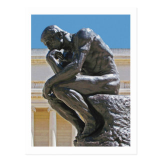 The Thinker photo painting postcard