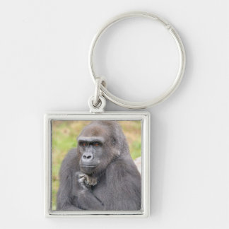 THE THINKER Silver-Colored SQUARE KEY RING