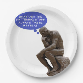 The Thinker's Thoughts on Food Personalized Paper Plate