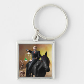 The Third Horseman Silver-Colored Square Key Ring