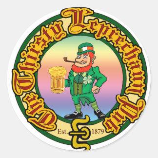 The Thirsty Leprechaun Pub Round Sticker
