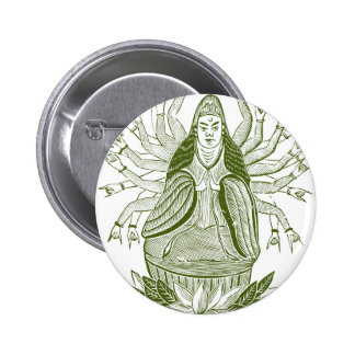 The Thousand-handed Kwan Yin 6 Cm Round Badge