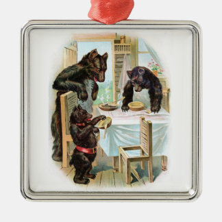 The Three Bears Silver-Colored Square Decoration
