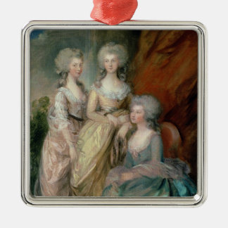 The three eldest daughters of George III: Princess Silver-Colored Square Decoration