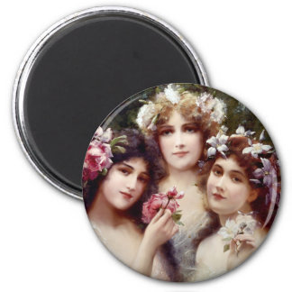 The Three Graces 6 Cm Round Magnet