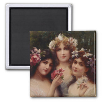 The Three Graces by Émile Vernon Square Magnet