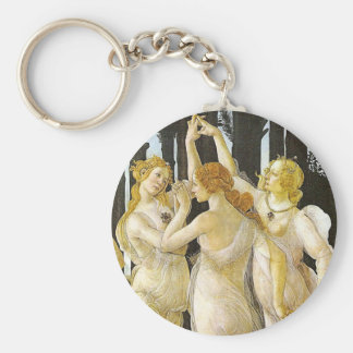 The Three Graces by Sandro Botticelli Basic Round Button Key Ring