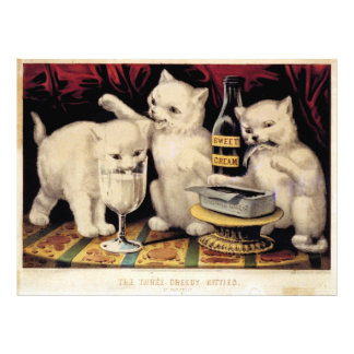 The Three Greedy Kitties At The Feast Currier Ives Photograph