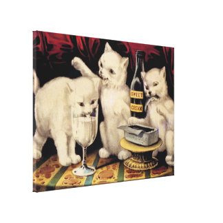 The Three Greedy Kitties At The Feast Currier Ives Stretched Canvas Prints