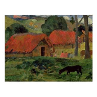 The Three Huts, Tahiti, 1891-92 (oil on canvas) Postcard