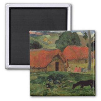 The Three Huts, Tahiti, 1891-92 (oil on canvas) Square Magnet