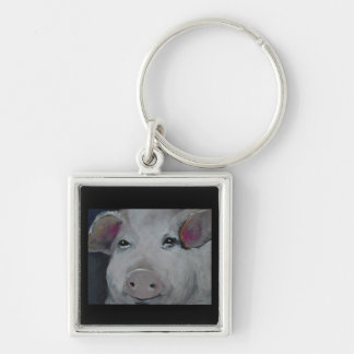 The Three Little Piggies Collection Silver-Colored Square Key Ring