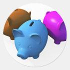 The Three Little Piggy Banks Classic Round Sticker