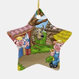 The Three Little Pigs Fairytale Scene Christmas Ornament