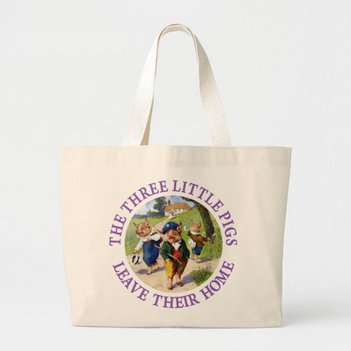 The Three Little Pigs Leave Their Home Tote Bags