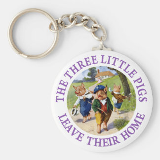 The Three Little Pigs Leave Their Home Basic Round Button Key Ring