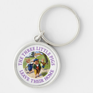 The Three Little Pigs Leave Their Home Silver-Colored Round Key Ring