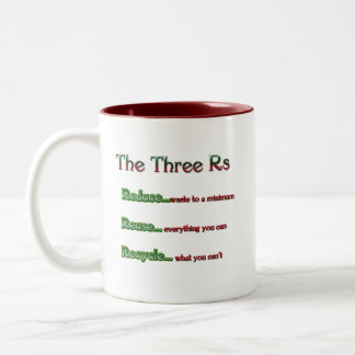 the Three Rs, Reduce, Reuse, Recycle Two-Tone Mug