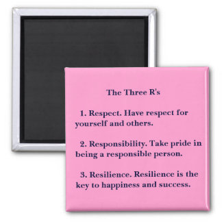 The Three R's Square Magnet