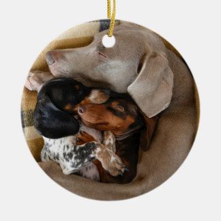 The Three Snoozes Round Ceramic Decoration