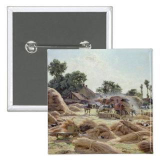 The Threshing Machine  1896 15 Cm Square Badge