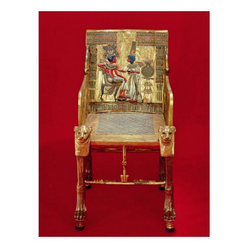 The throne, from the Tomb of Tutankhamun Post Card