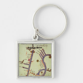 The Tigris and the Euphrates Silver-Colored Square Key Ring