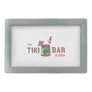 THE TIKI BAR IS OPEN RECTANGULAR BELT BUCKLE