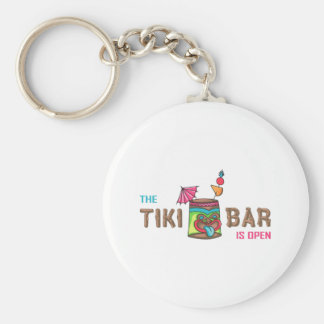 THE TIKI BAR IS OPEN KEY CHAINS