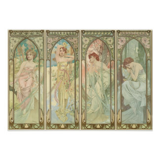 THE TIMES OF THE DAY - Mucha Poster