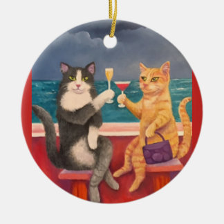 The Toasting Cats Christmas Ornament