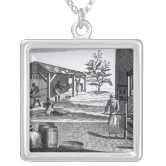The Tobacco Manufactory in Different Branches Silver Plated Necklace