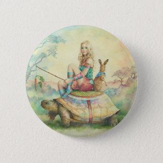 'The Tortoise & the Hare' 6 Cm Round Badge