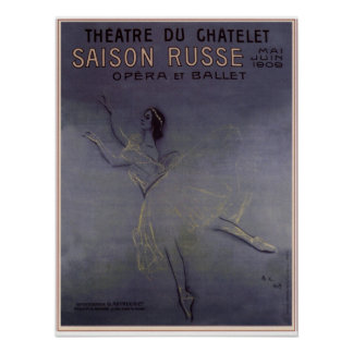 The touring of Anna Pavlova in Paris, France 1909 Poster