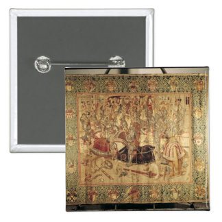 The Tournament, vertical loom tapestry 15 Cm Square Badge