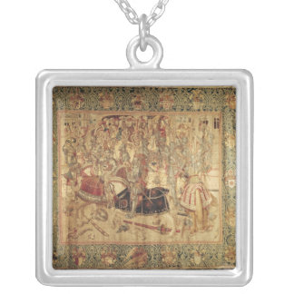 The Tournament, vertical loom tapestry Silver Plated Necklace