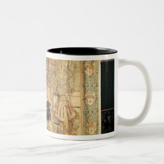 The Tournament, vertical loom tapestry Two-Tone Coffee Mug