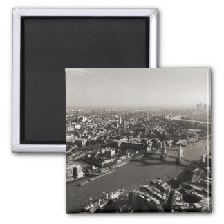 The Tower and Tower Bridge, London - B&W Square Magnet