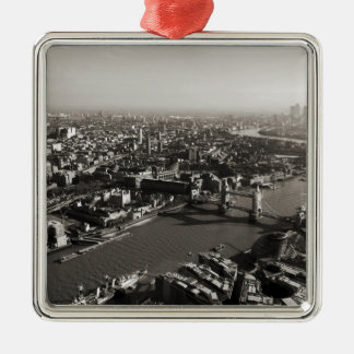 The Tower and Tower Bridge, London - B&W Silver-Colored Square Decoration