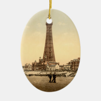 The Tower, Blackpool, England Vintage image Ceramic Oval Decoration