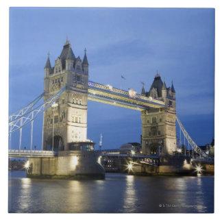 The Tower Bridge at Dusk Large Square Tile