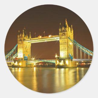 The Tower Bridge By Night Round Sticker