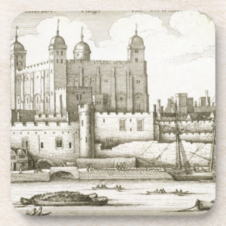 The Tower of London 1647 engraving Beverage Coaster