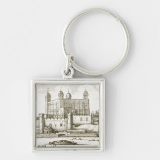 The Tower of London, 1647 (engraving) Silver-Colored Square Key Ring