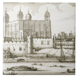 The Tower of London, 1647 (engraving) Large Square Tile
