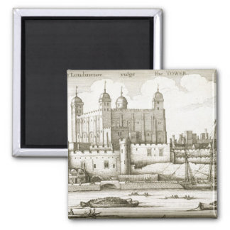 The Tower of London, 1647 (engraving) Square Magnet